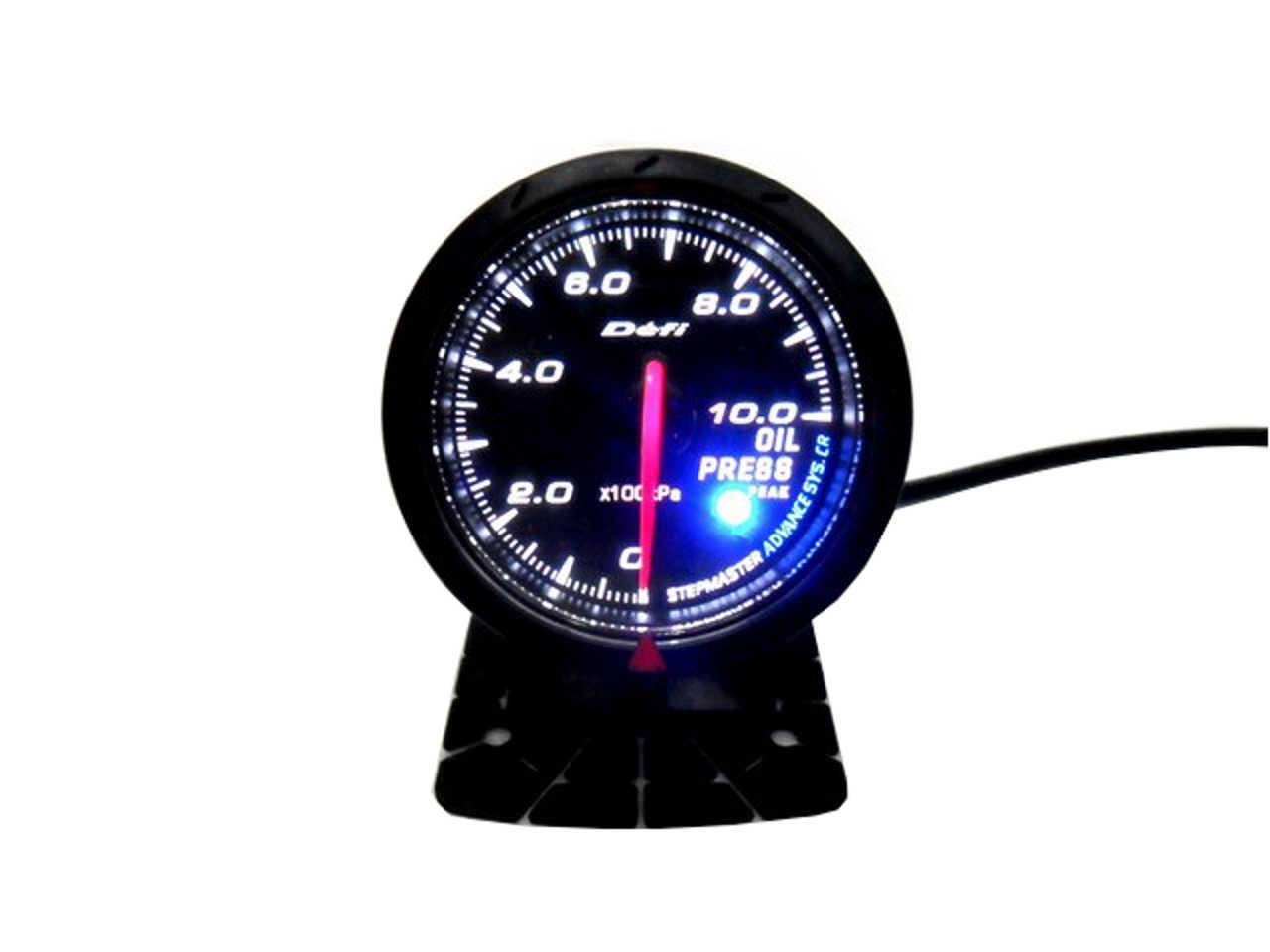 Blue Led Meter : Jdm black face non smoke oil pressure car gauge meter